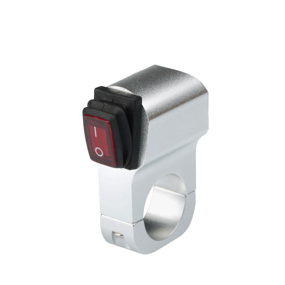 Выключатель однокнопочный в серебряном корпусе