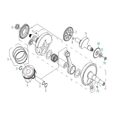 Коленчатый вал-поршень-балансировочный вал двигателя 196S-B