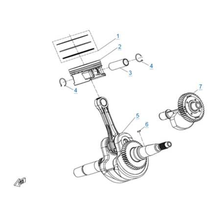 Коленчатый вал-шатун-поршень двигателя 191S