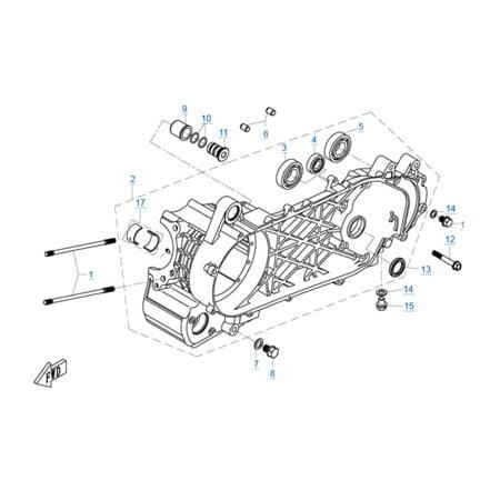 Левая половина картера двигателя 1P72MM-A(A1)