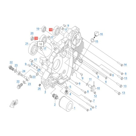 Левая половина картера двигателя CF188