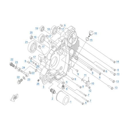 Левая половина картера двигателя CF188-A
