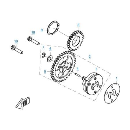 Масляный насос двигателя 1P72MM-A(A1)