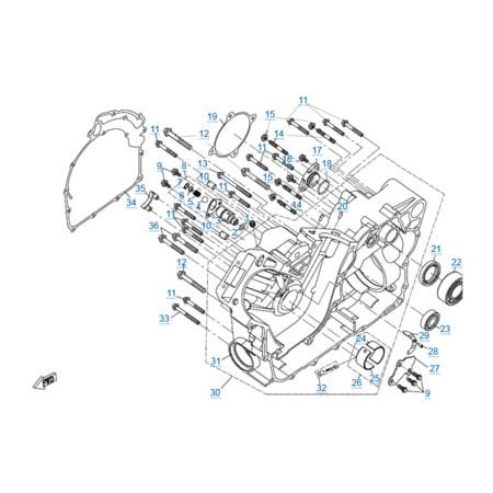 Правая половина картера (c 2014) двигателя 2V91W (U8)
