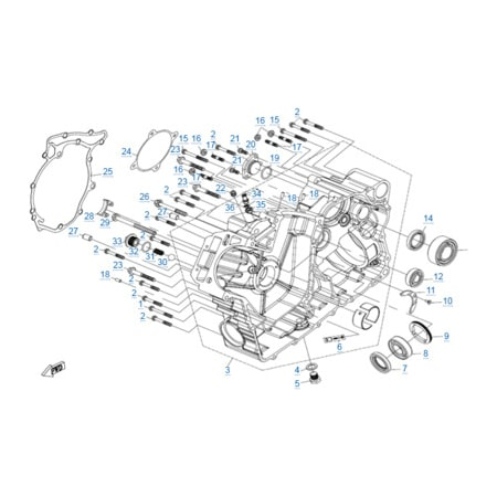 Правая половина картера двигателя 2V91W-A
