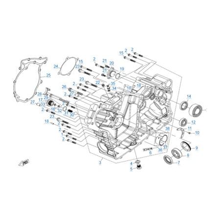 Правая половина картера двигателя 2V91Y (X10)