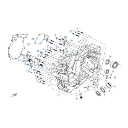 Правая половина картера v2 двигателя 2V91W-A