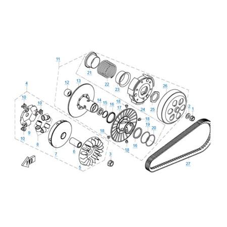 Сцепление и вариатор в сборе двигателя 1P72MM-A(A1)