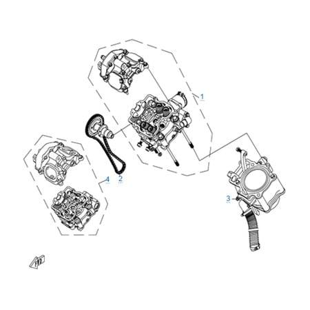 Цилиндр и головка цилиндра в сборе двигателя 196S-C