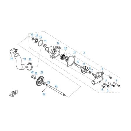 Водяной насос двигателя 1P72MM-A(A1)