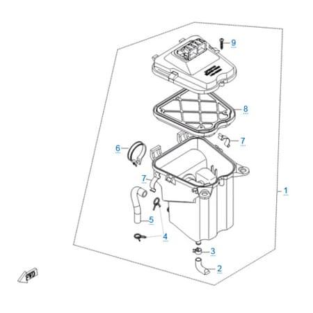 Воздушный фильтр в сборе двигателя 157MJ-3