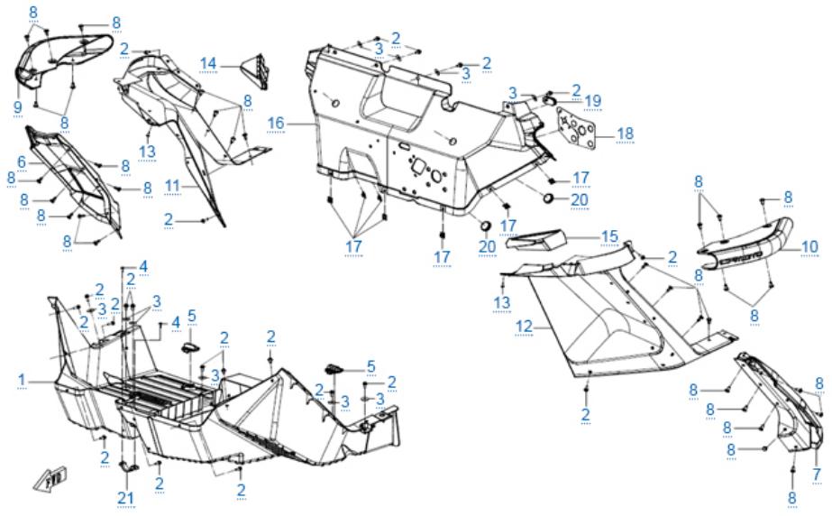Пластиковые детали 3 для ZFORCE 1000 SPORT EPS