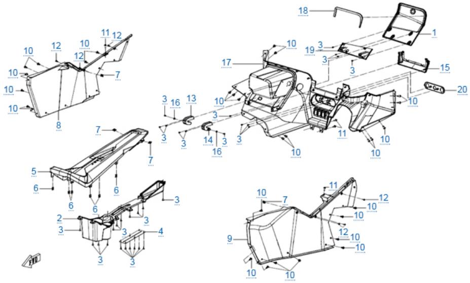 Пластиковые детали 4 для ZFORCE 1000 SPORT EPS