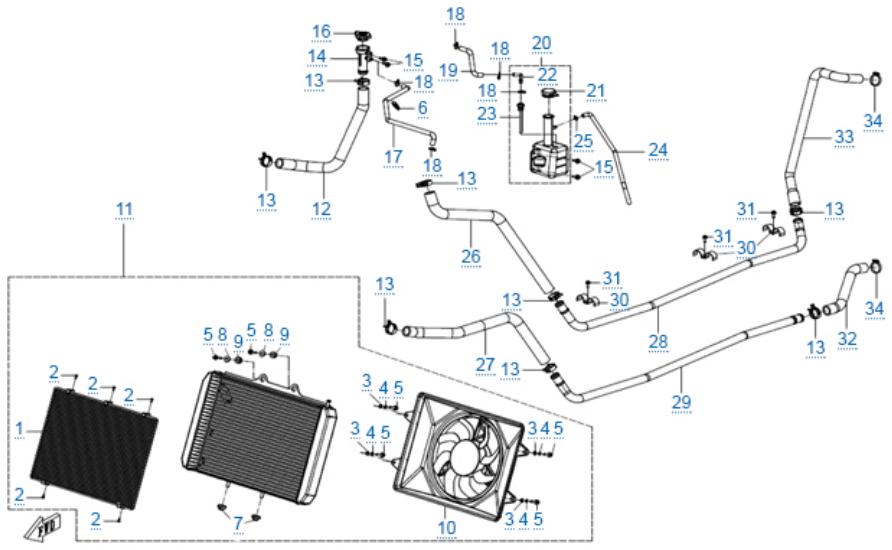 Система охлаждения двигателя для ZFORCE 1000 SPORT EPS